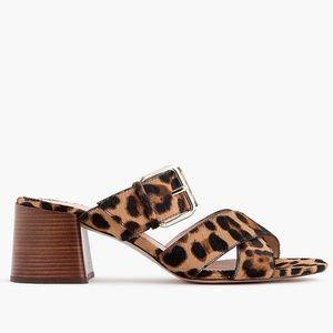 J. Crew Penny Slide Sandal in Leopard Calf Hair